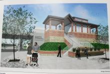 Mock-up of new Metra Edgewater station at Peterson and Ravenswood in Chicago